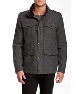 Kenneth Cole 443CB008 Mens Black White Herringbone Herb Wool Tweed Coat ... - $63.99