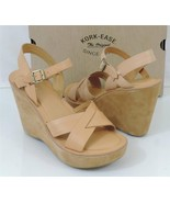 Kork Ease Bette Womens Leather Platform Wedge Buckle Sandals Shoes Natur... - $51.99
