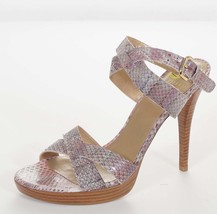 Stuart Weitzman Womens Purple Leather Snake Ankle Strap Sandals Platform... - $95.99