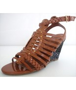 Guess SCHYLER Womens Brown Woven Strappy Wedges Sandals Heels Shoes 8.5 M - $35.99