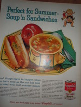 Campbell's Soup Perfect for Summer Soup'n Sandwiches Print Magazine Ad 1960 - $6.99