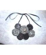 Rolled Fabric Rose Bib Statement Necklace - Black and Silver - $22.00