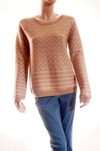 Joie Hideaki Womens Tan Gold Metallic Wool Chevron Pullover Sweater A59-... - $71.99