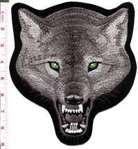 Gray wolf wolves biker applique iron-on patch new XL 7.75 x 8.6 inches S... - $12.86