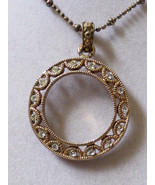 Cookie Lee Fashion Gold tone metal Filagree crystal  Circle design necklace - $14.85