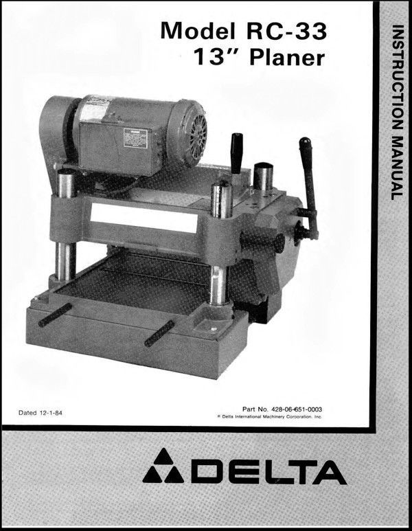 Primary image for Delta Planer 22-650 RC-33 Instruction Manual