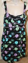 Nanette Lepore Black Floral Eyelet Dress Lavender Purple Aqua Ric Rac 8 ... - $89.99