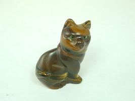 2538 Oriental Jade Hand Carve Cat Dark Brown w/ Golden Brown Highlights - $20.00