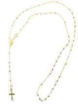 """10K Gold Lady Of Guadalupe Rosary Necklace Diamond Cut Ball 18"""" - $165.62"""