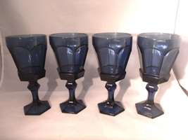 "(4) VINTAGE FOSTORIA ""VIRGINIA"" COBALT BLUE GLASS WINE GOBLETS - $7.99"