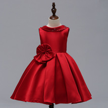 Red Satin Pricess Flower Girl Dress 2019 Cheap Ball Gown Wedding Kid Party Gowns image 4