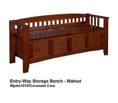 Entry-Way Storage Bench-Seat Organizer WalnutTraditional style slatted back - $130.89