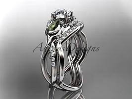 Engagement ring set, 14kt white gold diamond tulip flower engagement set... - $2,245.00