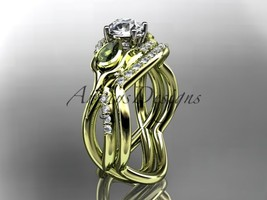 Engagement ring set, 14kt yellow gold diamond tulip flower, leaf and vin... - $1,995.00