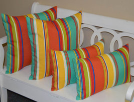 """Set of 4 - In / Outdoor 20"""" Square & Lumbar Coral Turquoise Stripe Throw... - £42.87 GBP"""