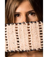 Free Shipping - Hand-Knit Woolen Scarf with Crystal Beads and Pearls   - $34.99
