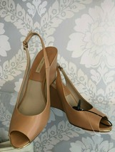 MICHAEL KORS Collection Light Brown Leather Slingback Wedges Sz 39/US 9 ... - $226.61