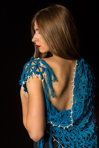 Free Shipping - Hand-Knit Woolen Blue Scarf with White Pearls Crochet Bo... - $39.99