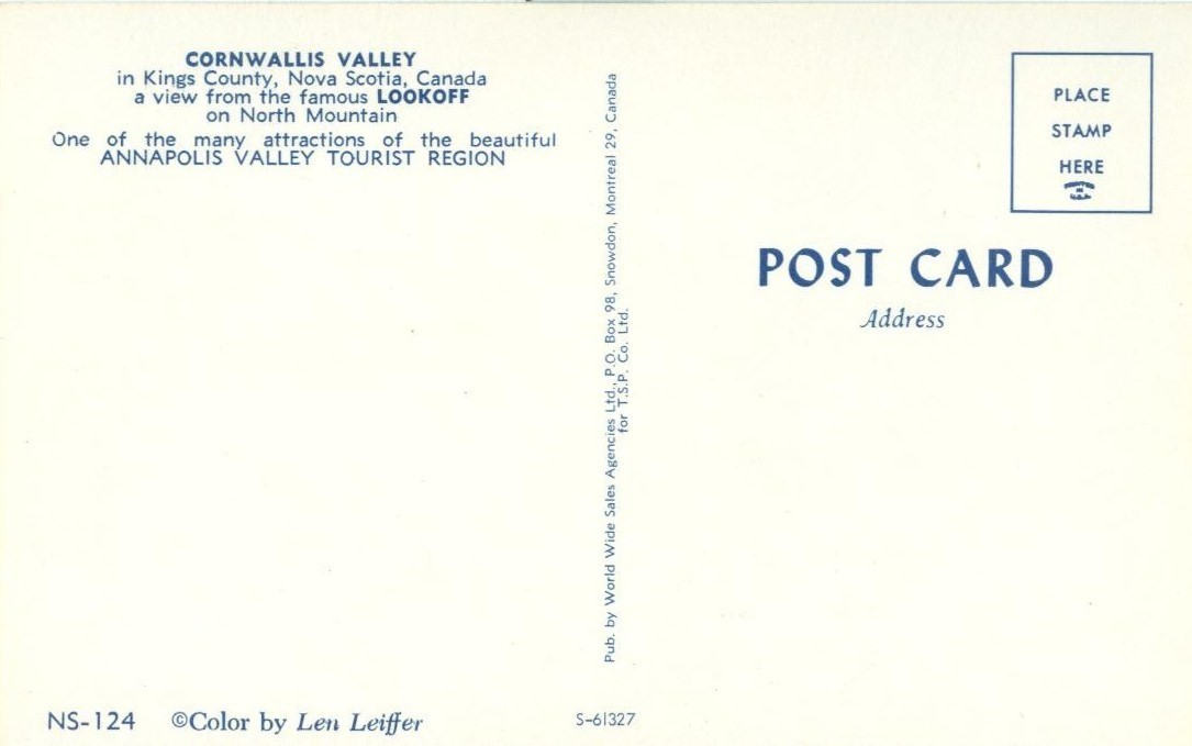 Canada, Cornwallis Valley, Kings County, Nova Soctia, unused Postcard