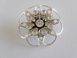Vintage Clear Rhinestone Silver Tone Flower Brooch - $5.70