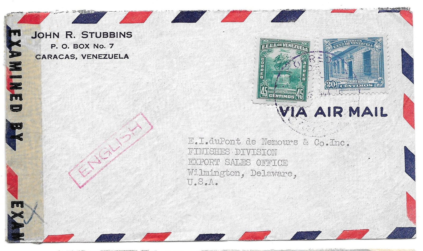 Censored Venezuela WWII Airmail Commercial Cover Caracas to US Handstamp English