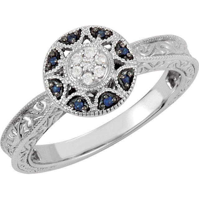 Primary image for 14K White Gold Filgree Design Sapphire & Diamond Halo Victorian Engagement Ring