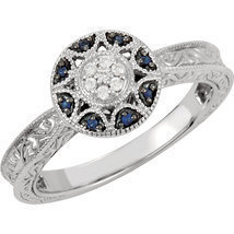 14K White Gold Filgree Design Sapphire & Diamond Halo Victorian Engageme... - £480.95 GBP