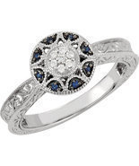 14K White Gold Filgree Design Sapphire & Diamond Halo Victorian Engageme... - $11.491,87 MXN