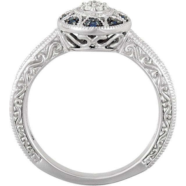 14K White Gold Filgree Design Sapphire & Diamond Halo Victorian Engagement Ring
