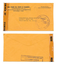 WWII Censored Cuba Official Free Mail Cover Matzanzas to US 1943 Cigar S... - $9.99