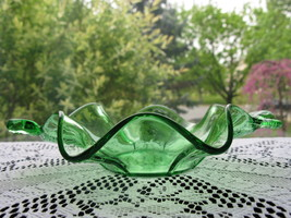 Fenton Art Glass Vintage Green Dolphin Handled Dish - $24.00