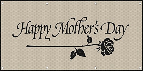 Happy Mother's Day MESH Windproof Fence Banner Sign w/Grommets 5 Ft x 10 Ft