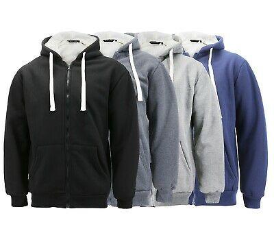 Men's Heavyweight Thermal Zip Up Hoodie Warm Sherpa Lined Sweater Jacket