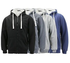 Men's Heavyweight Thermal Zip Up Hoodie Warm Sherpa Lined Sweater Jacket