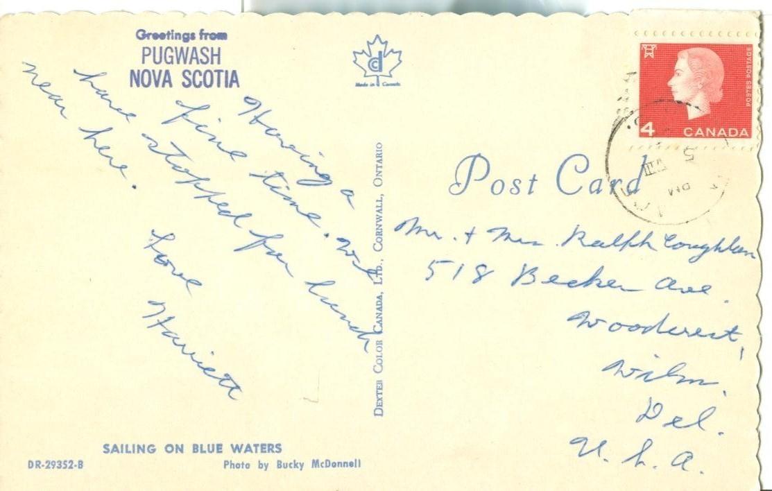 Canada, Greetings from Pugwash Nova Scotia 1960s used Postcard