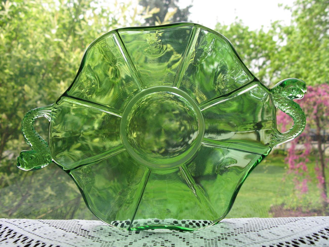 Fenton Art Glass Vintage Green Dolphin Handled Dish