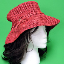 New Red Hand-Decorated Women's Large Brimmed Floppy Bucket Hat - $8.95