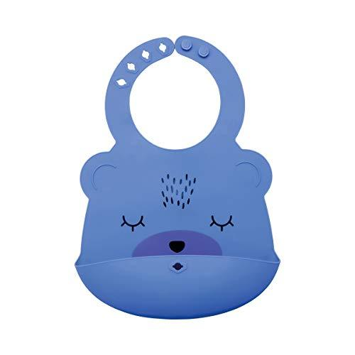 Tiny Twinkle Silicone Roll-Up Bib - Indigo Blue Bear - Waterproof Toddler and Ba