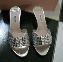 NIB 100% AUTH miu miu Jeweled Silver Glitter Slides $790 Sz 35.5 - $493.02