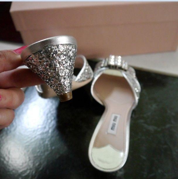NIB 100% AUTH miu miu Jeweled Silver Glitter Slides $790 Sz 35.5