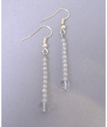 Iridescent Beaded Handmade Earrings Square Round Beads Silver Metal Pier... - $20.00