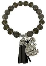 Koala Bear Gray Glass & Semi Precious Stone Bead Tassel Stretch Bracelet Jewelry - $15.83