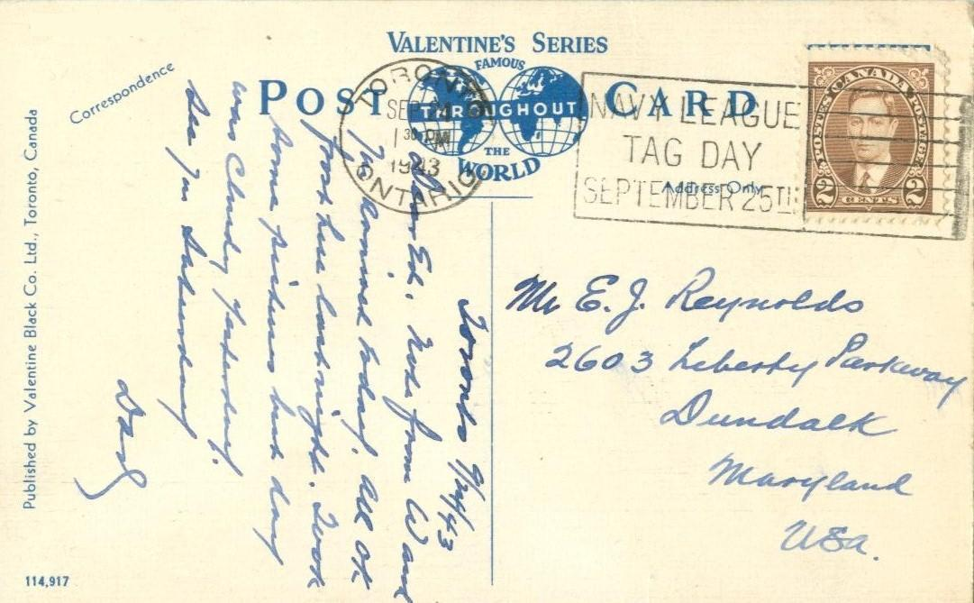 Canada, Looking east on King Street, from York Street, Toronto, used postcard