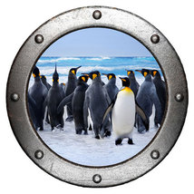 Penguins Porthole Wall Sticker,Wall decal, removable wall art 24'' PH-0034 - $32.99