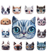 2 Sizes Plush Creative 3D Dog Cat Throw Pillows Meow Star Sofa Bed Cushion - $15.97+