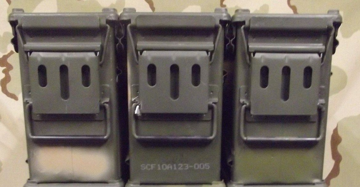Lot of 3 Military Surplus 40mm PA-120 Large Ammo Cans Boxes 40MM Grade 2 V.G.C.