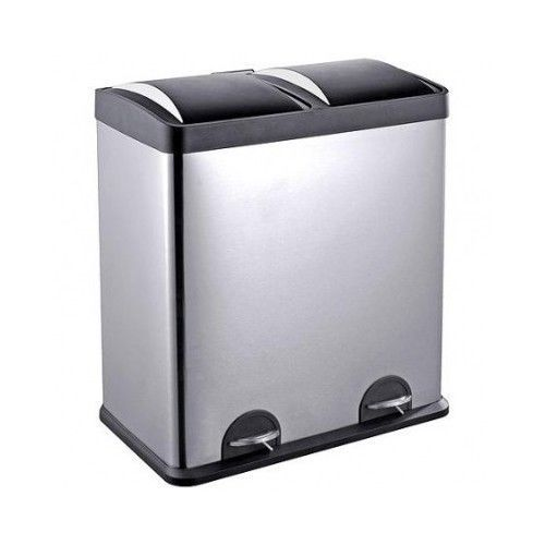 Kitchen Garage Trash Can Step N Sort 16 Gallon 2 Compartment Stainless Steel Bin - $146.20