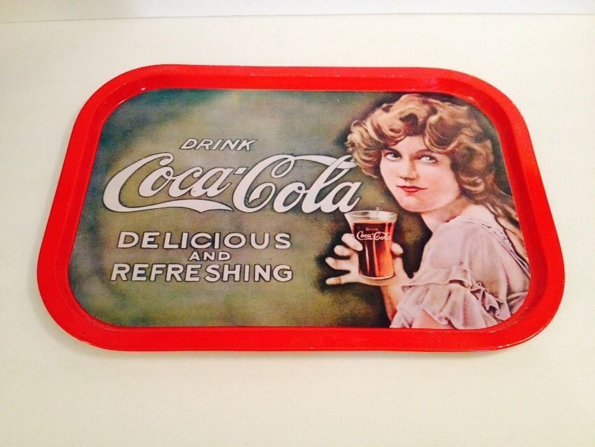 Primary image for Coca-Cola tin serving tray ad advertising drink delicious refreshing Vtg Rare