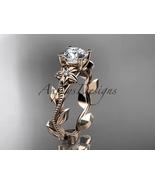 14k rose gold diamond  leaf and vine wedding ring, engagement ring ADLR223 - $625.00