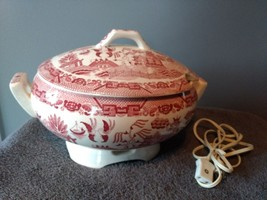 VINTAGE ROYAL SEALY RED TRANSFER WARE WARMING SOUP TUREEN - $23.38